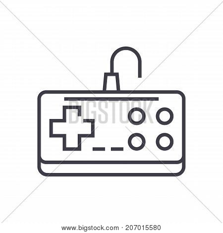 gamepad vector line icon, sign, illustration on white background, editable strokes