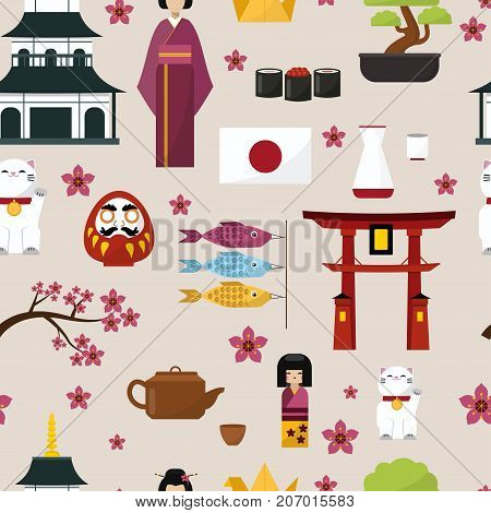 Japan famouse culture architecture buildings and japanese traditional food vector icons illustration