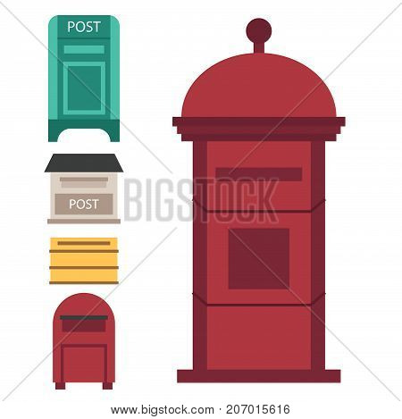 Beautiful rural curbside open and closed mailboxes vector illustration.