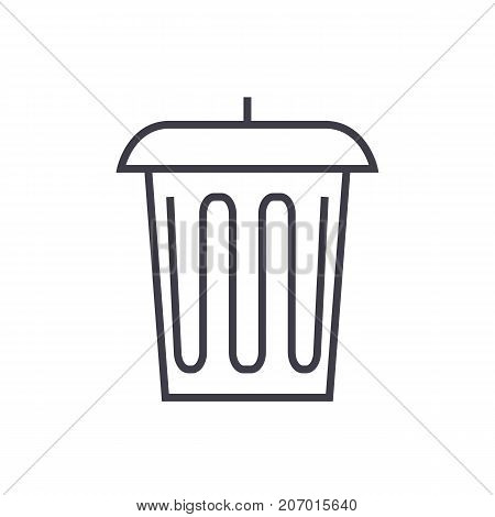 garbage, office bin vector line icon, sign, illustration on white background, editable strokes