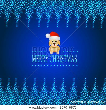 Blue background with a luminous frame of stars and dog in a Santa Claus hat.Vector illustration.