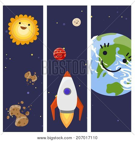 Space landing different planets cards design spaceship solar system future exploration space ship rocket shuttle vector illustration. Galaxy atmosphere system fantasy nature spacecraft.