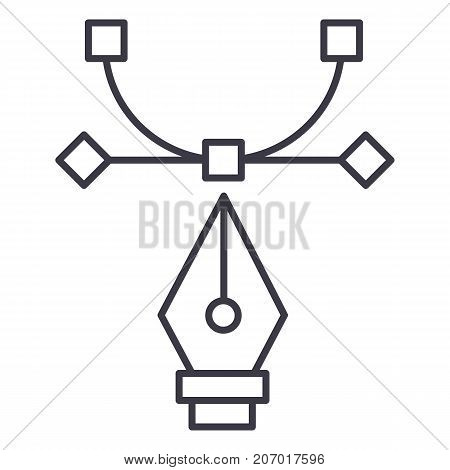 graphic tool, curvature tool, design vector line icon, sign, illustration on white background, editable strokes