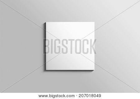 Blank square photorealistic brochure mockup on light grey background.