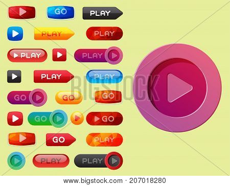 UI interface button play media internet isolated website element online player approved mark click icon vector illustration. Accept success vote checkmark.