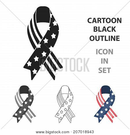 Patriotic ribbon icon in cartoon style isolated on white background. Patriot day symbol vector illustration.
