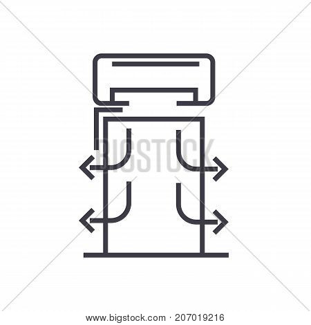 heat curtains vector line icon, sign, illustration on white background, editable strokes