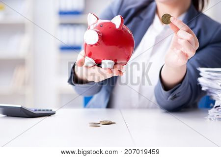 Businesswoman in pension savings concept