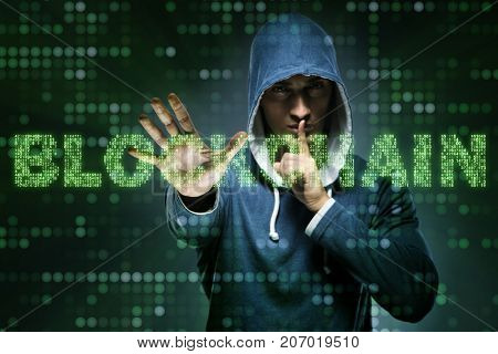 Hacker hacking cryptocurrency in blockchain concept