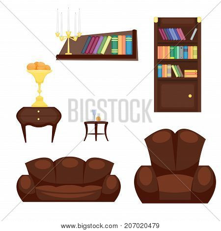 Furniture room design decor elements and room interior design furniture interior style concept vector. Furniture interior and home decor concept icon set flat vector illustration.