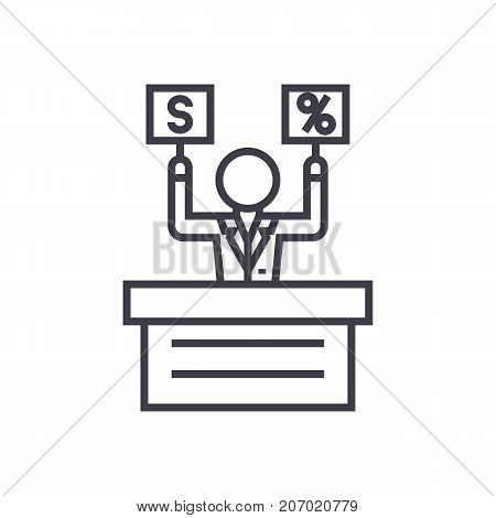 offer, market, auction vector line icon, sign, illustration on white background, editable strokes