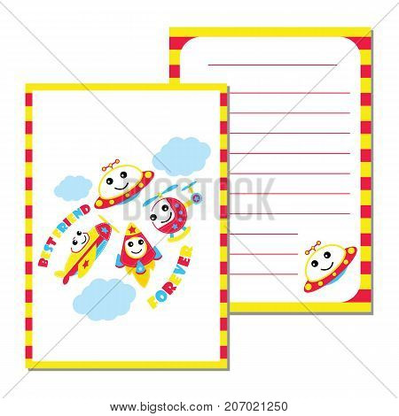 Cute Plane, UFO, rocket and helicopter vector cartoon illustration for kid paper card design, planner paper and stationery paper