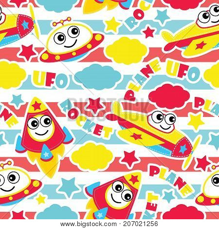 Seamless pattern of cute plane, rocket and ufo on striped background vector cartoon illustration for kid wrapping paper, fabric clothes, and wallpaper