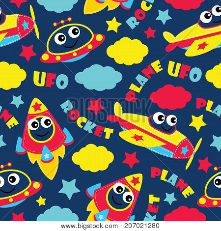 Seamless pattern of cute plane, rocket and ufo on blue background vector cartoon illustration for kid wrapping paper, fabric clothes, and wallpaper
