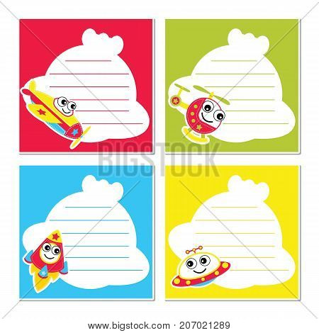 Cute air transportation on colorful frame vector cartoon illustration for kid memo paper design, planner paper and stationery paper