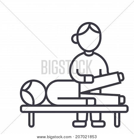 osteopathy, manual therapy, massage vector line icon, sign, illustration on white background, editable strokes