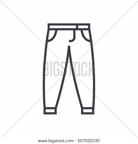 pants, trousers vector line icon, sign, illustration on white background, editable strokes