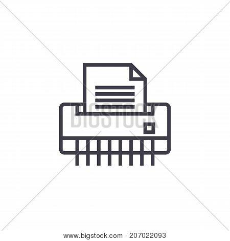 paper shredder, office printer vector line icon, sign, illustration on white background, editable strokes