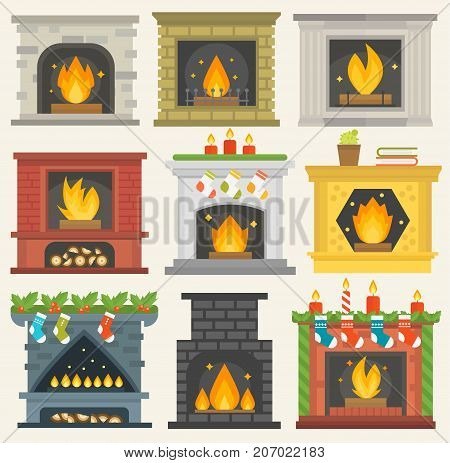 Set of vector fireplace icons. house room warm christmas silhouette. Fireplace flame bright decoration coal furnace. Comfortable warmth collection.