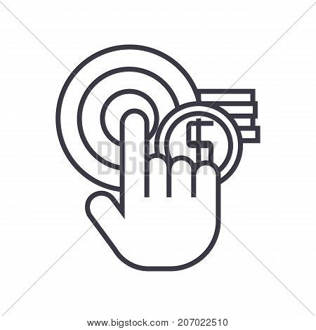 pay per click, online marketing vector line icon, sign, illustration on white background, editable strokes