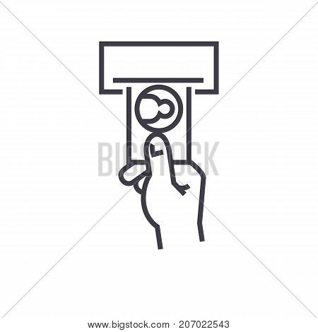 payment by cash vector line icon, sign, illustration on white background, editable strokes