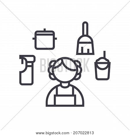 personal maid, houskeeping woman, cleaning service vector line icon, sign, illustration on white background, editable strokes