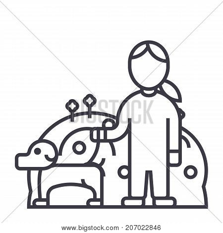 pets care, dog with woman, animal care vector line icon, sign, illustration on white background, editable strokes