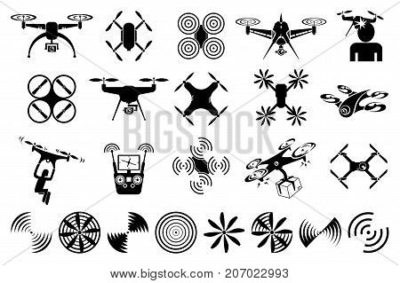 drones and quadcopters and a set of rotating propellers