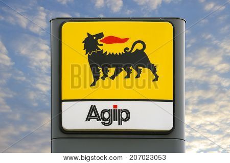LINDEN GERMANY JULY 2017: AGIP logo on a gas station. AGIP is an italian oil company headquartered in Roma Italy and It has been a subsidiary of the multinational petroleum company Eni