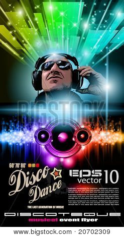 Disco Music Flyer with Disk Jokey Shape and Rainbow lights. Ready for Poster of night event.