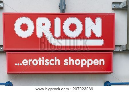 WETZLAR GERMANY JUNE 2017: ORION Sex Shop chain sign. ORION is a German Sex Shop chain based in Flensburg