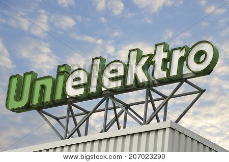 LINDEN GERMANY JULY 2017: Unielektro Logo on a Electrical trade center. Unielektro Electrical Trade Center is a discount chain bassed in Frankfurt/Main Germany.