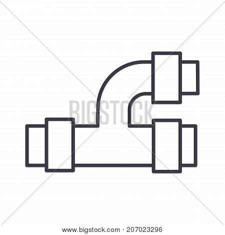 pipes, plumbing vector line icon, sign, illustration on white background, editable strokes