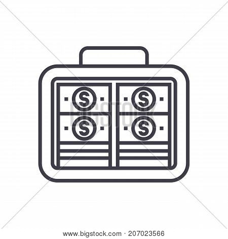 portfolio money, investment, banknotes vector line icon, sign, illustration on white background, editable strokes