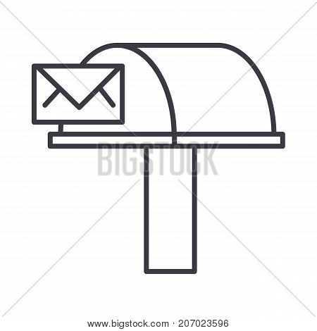 postbox, email delivery vector line icon, sign, illustration on white background, editable strokes
