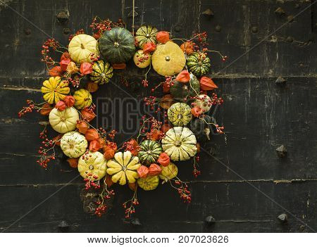 Handmade wreath of small pumpkins and zucchini on a vintage door Halloween pumpkins