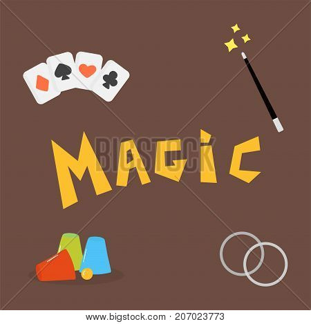 Magician tools poker cards art style gambler playful symbol vector illustration.