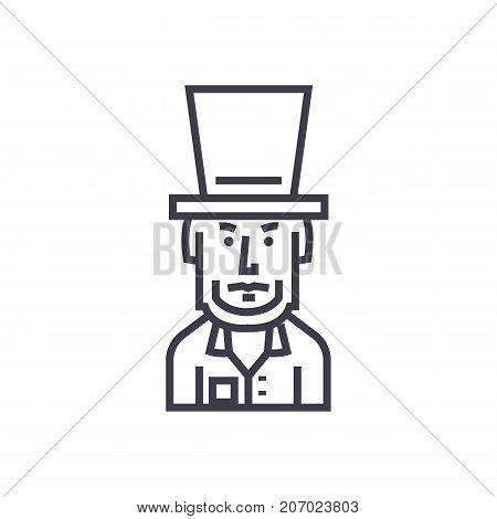 president usa, abraham lincoln vector line icon, sign, illustration on white background, editable strokes