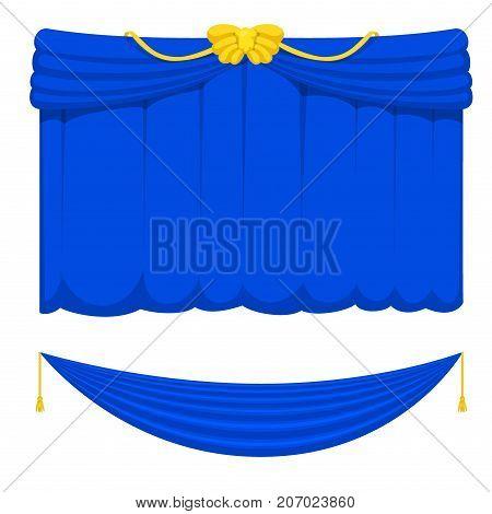 Theather scene blind blue curtain stage fabric texture performance interior cloth entrance backdrop isolated vector illustration. Presentation velvet luxury show boards elegant decor