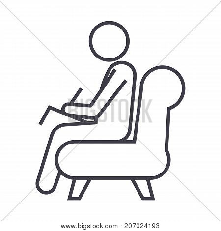 psychologist, consultant  vector line icon, sign, illustration on white background, editable strokes