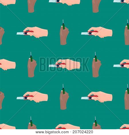 Hands with screwdriver construction tool worker equipment. House renovation handyman vector illustration. Carpenter industrial build job wrench repair working body part.