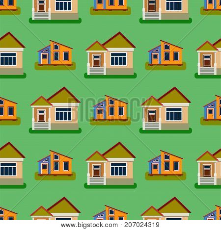 Historical city modern world seamless pattern distinctive house building front face facade set for tourists cartoon architecture vector illustration. Cottage residential construction cityscape.
