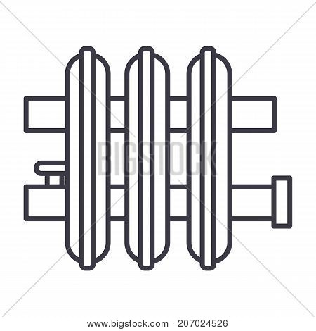 radiator vector line icon, sign, illustration on white background, editable strokes