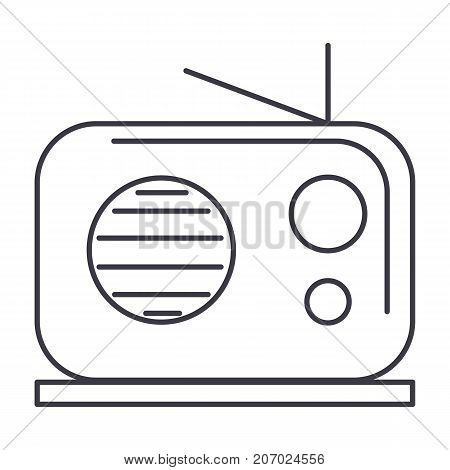 radio reciever vector line icon, sign, illustration on white background, editable strokes