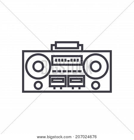 record tape player vector line icon, sign, illustration on white background, editable strokes