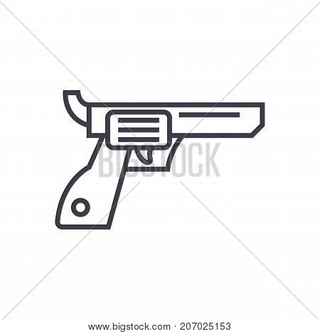 revolver, gun, cowboy vector line icon, sign, illustration on white background, editable strokes