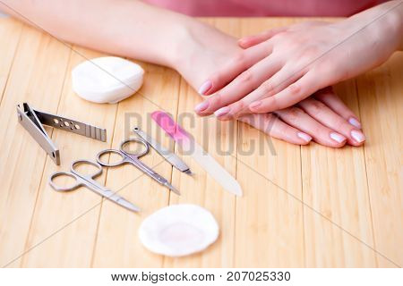 Beauty products nail care tools pedicure closeup