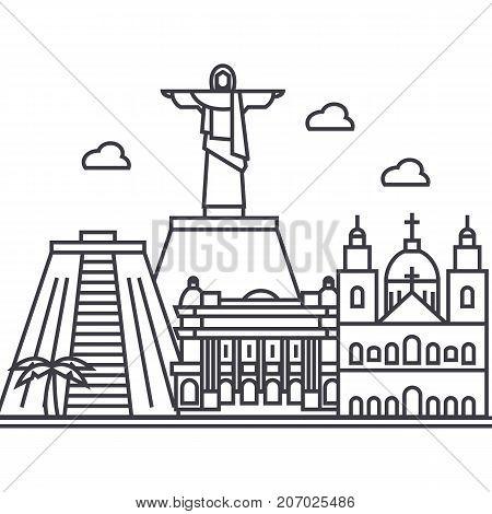 rio de janeiro, brazil vector line icon, sign, illustration on white background, editable strokes