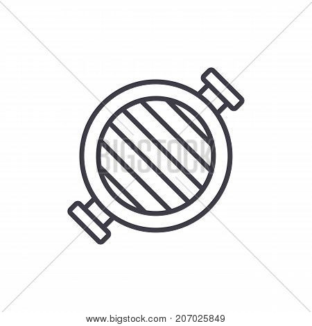round grill  vector line icon, sign, illustration on white background, editable strokes