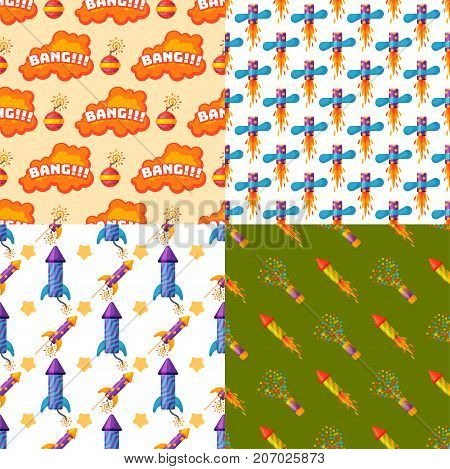 Fireworks pyrotechnics rocket and flapper birthday party gift celebrate seamless pattern vector illustration background festival.